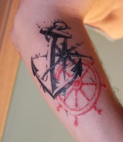 Kotwica Koło I Kompas Pomysły I Wzory Tatuaży Dla Kobiet Mężczyzn