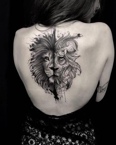 Lew tatuaż dla dziewczyny