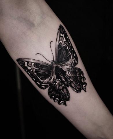 Motyl na przedramieniu tatuaż