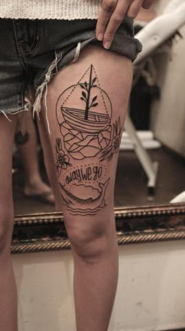 Stateczek tatuaż