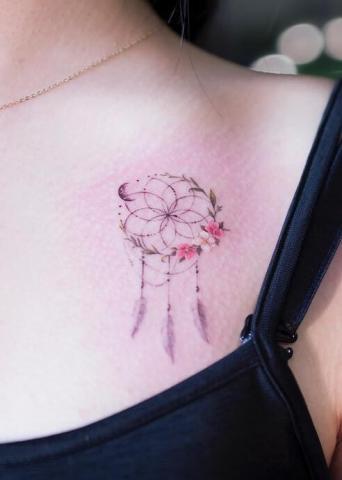 Tatuaż delikatny łapacz snów