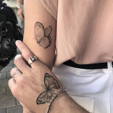 Tatuaż dla par motyle