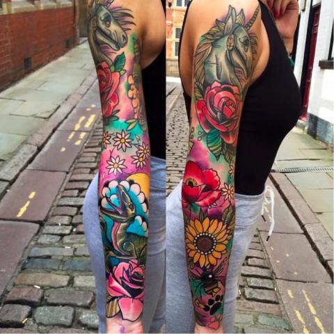 Tatuaż Róża Rekaw Pomysły I Wzory Tatuaży Dla Kobiet