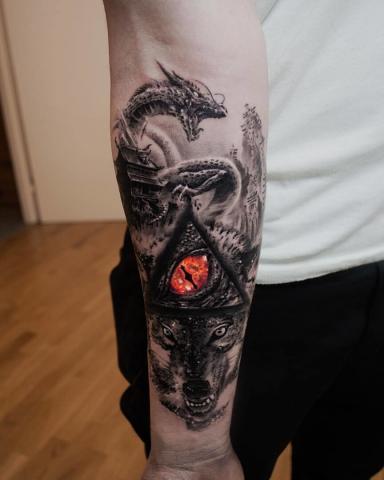 Wilk ręka tatuaż dla mężczyzny