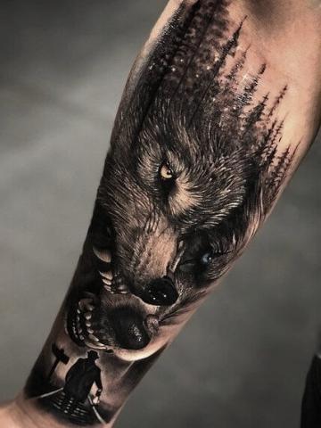 Wzory tatuaży wilki