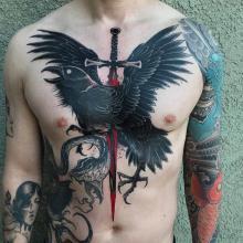 Tatuaż męski klatka piersiowa