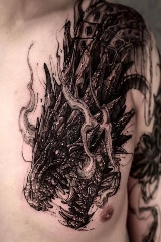 Duży smok tatuaż