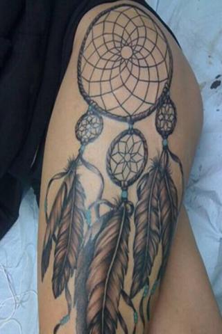 Łapacz snów tatuaż udo damski
