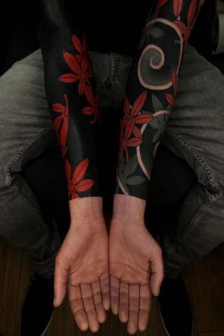 Męski rękaw tatuaż