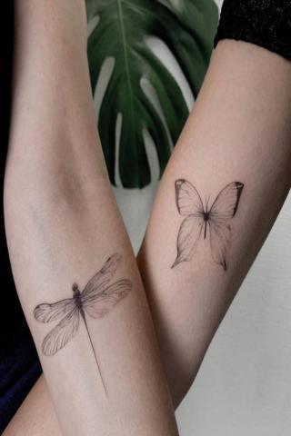 Motyl i ważka tatuaż dla dwojga