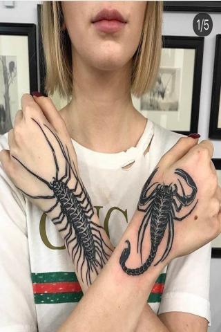 Skorpion na jednej ręce tatuaż