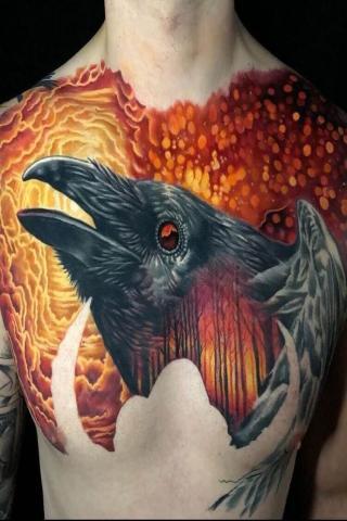 Tatuaż kruk na klatce piersiowej