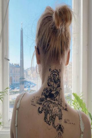 Tatuaż tygrys wzór damski