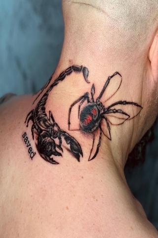 Tatuaże męskie skorpion i pająk