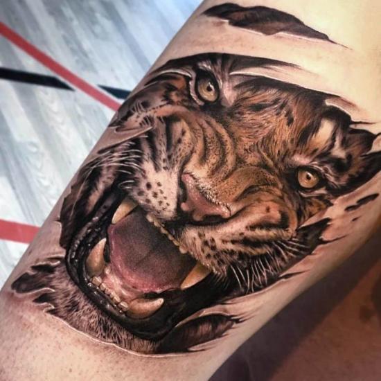 Tatuaż twarz tygrysa