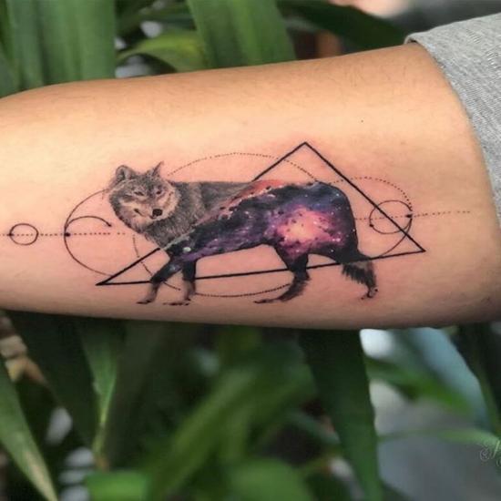 Wilk tatuaż biceps