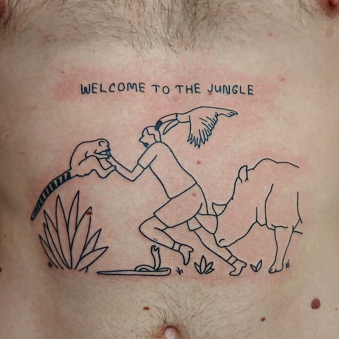 Witamy w dżungli tatuaż